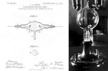 LEFT: Edison Fluorescent Lamp - Patent No. 865,367 RIGHT: Original Edison Incandescent Bulb