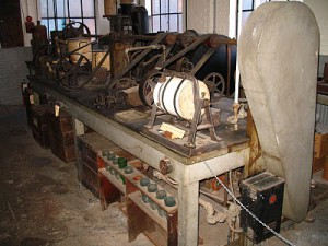The plant processing equipment Edison used in his West Orange Chemistry Lab to facilitate the extraction of latex rubber from his goldenrod and other candidate plants.