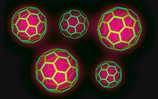 The new photovoltaic solar panel inner workings combines buckyball configurations (pictured) with carbon nano tubes.