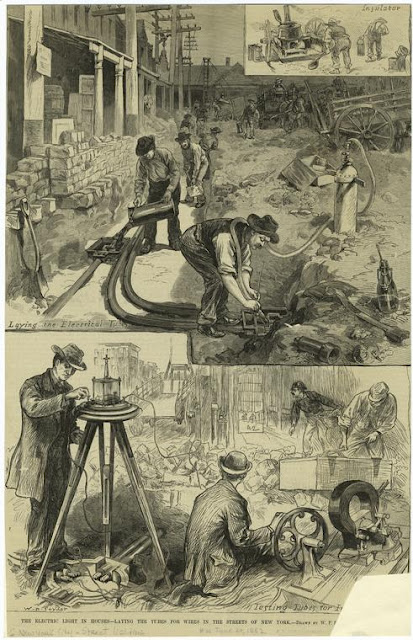 Edison workers busy installing the first utility grid in the streets of New York [source- http://theboweryboys.blogspot.com/2011/12/electric-new-york-from-gaslight-to.html]