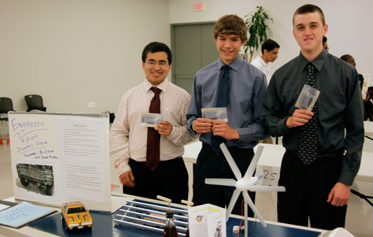 "Honorable mention #1 ""Grizzly Innovators"" High Point RHS Invented a turbine system that would mount to the grill of a truck and generate energy to be used to warm the block of the engine in the winter"