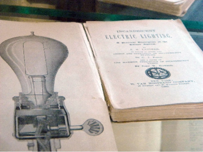 Diagram of Latimer's bulb (1883) and acclaimed book (1889)