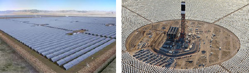 (Pictured Left) Utility size system could cover square miles. (Pictured Right) Hundreds of thousands of mirrors concentrate sunlight to make electricity ... square miles of land needed.