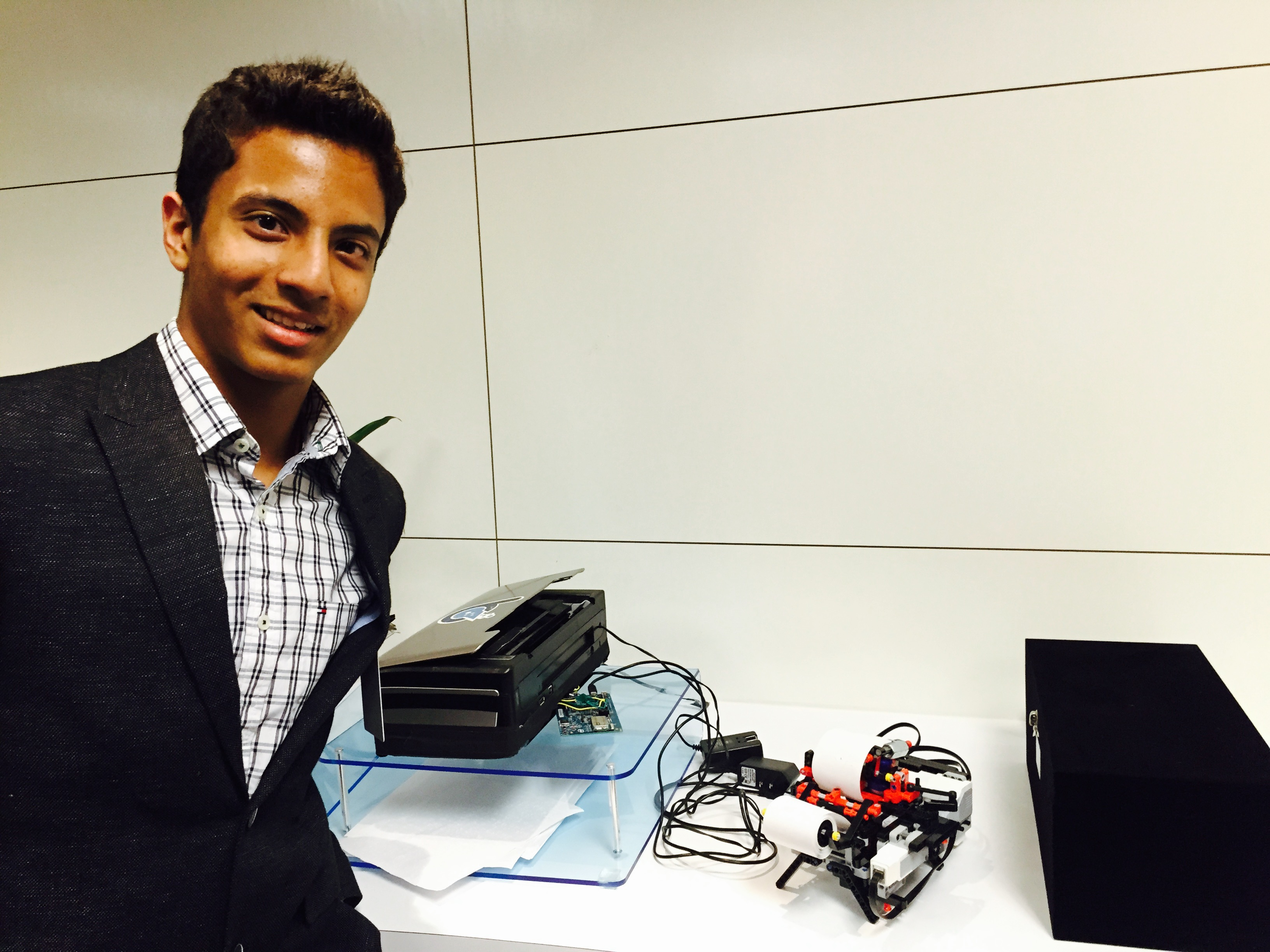 "The First Place Winner of the 2016 awards ceremony was Shubham Banerjee for work in using the microprocessor to build his Braille Printer called ""Braigo"""