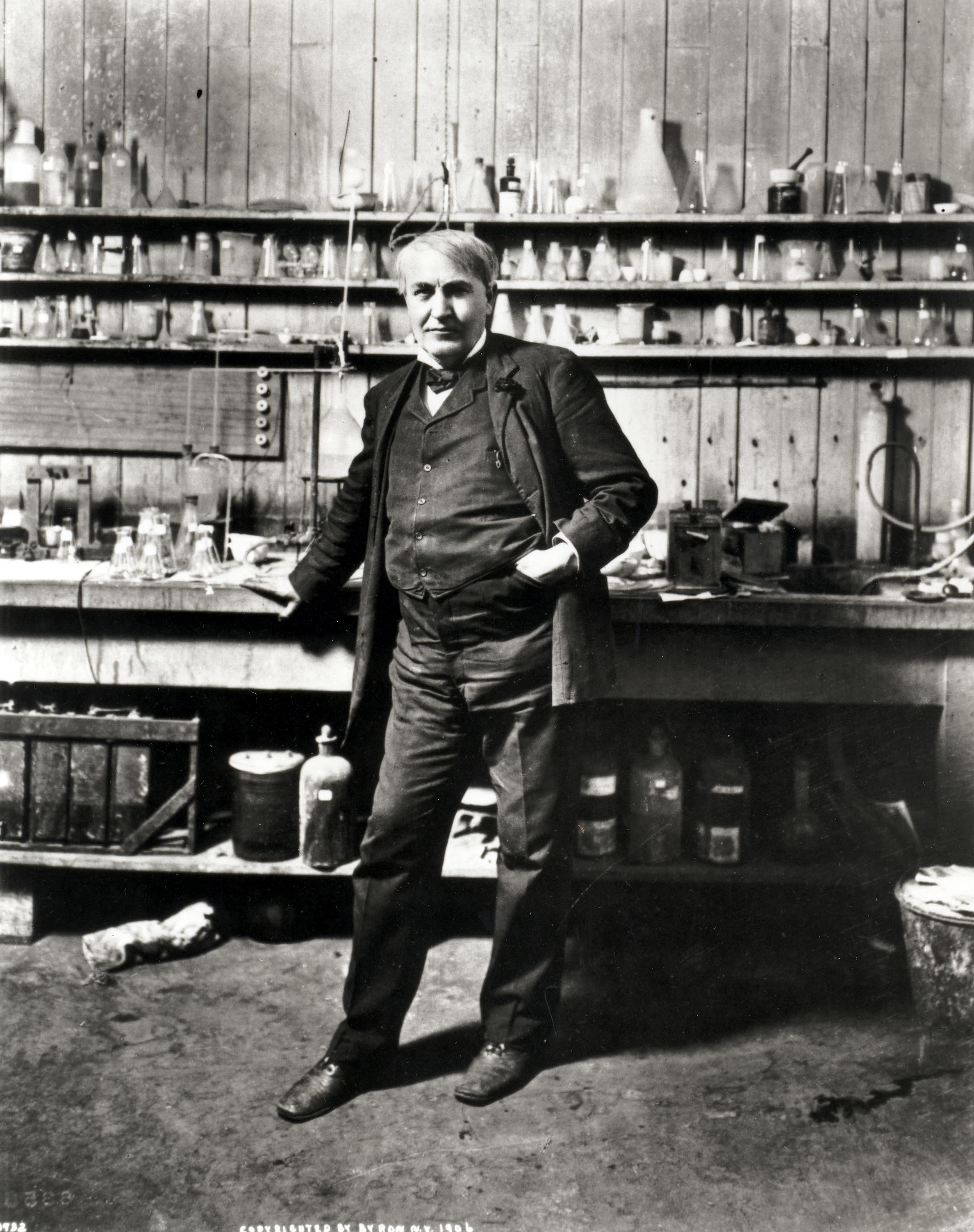 Edison at his Chemistry table