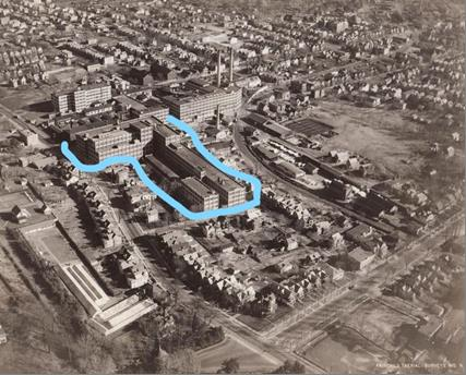 Here amid the sprawling 25-acre Edison West Orange complex (ca.1928), shown in blue outline, is the block-long, L-shaped battery production facility. Part of the building still stands today.