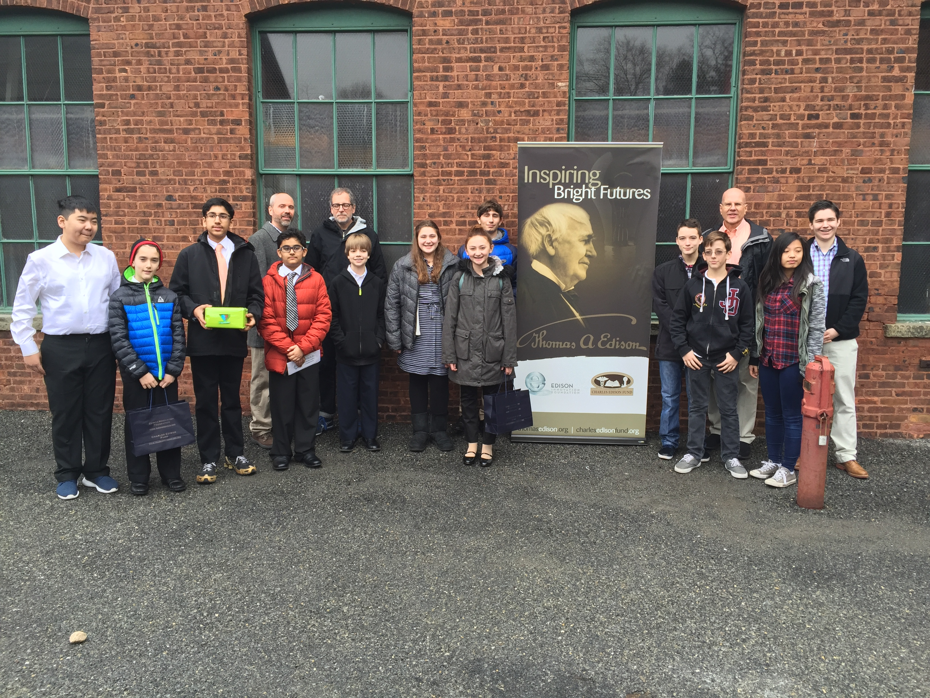 The three finalist teams and their teacher mentors enjoying a group photo at the Thomas Edison National Historical Park where the contest finals were held.