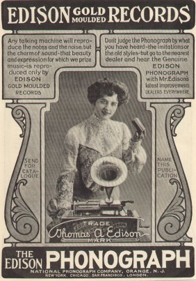 1903 ad for the Edison phonograph
