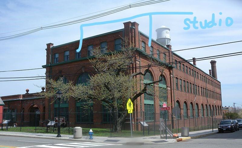 Invention factory with location of recording studio indicated by blue lines