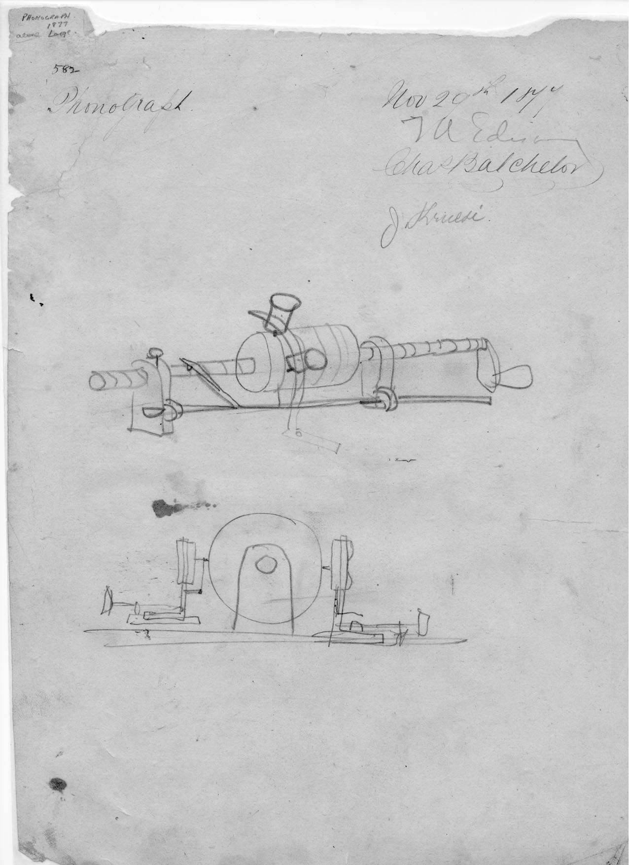 Original Edison sketch for the phonograph!