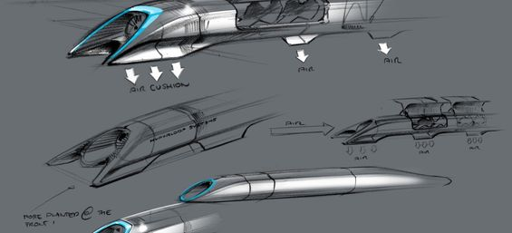 Original concept drawing for a Hyperloop pod