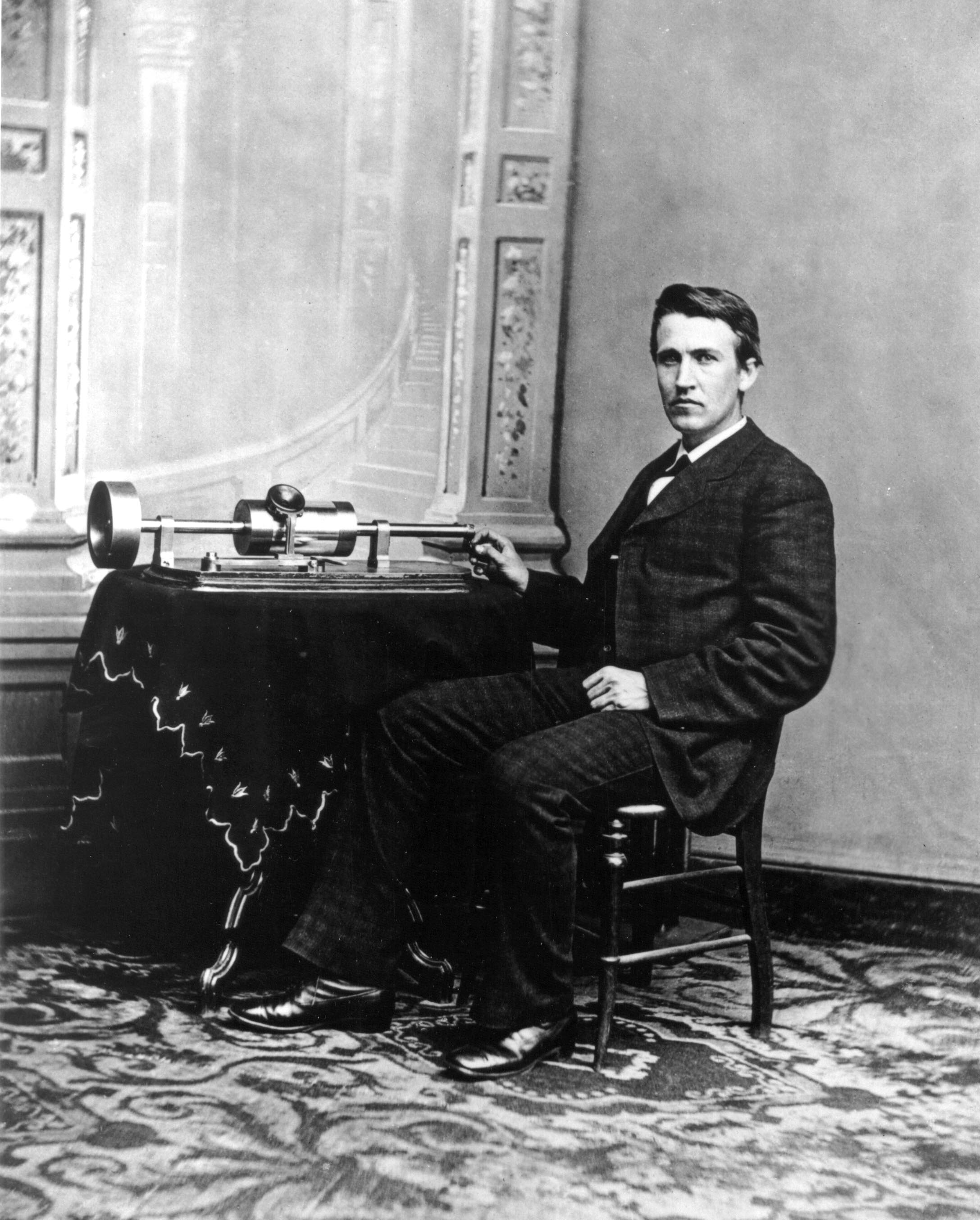 A young and proud Edison shows off his phonograph to President Rutherford B. Hayes at the White House, 1878.