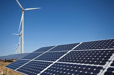Wind turbines and solar photovoltaic panels