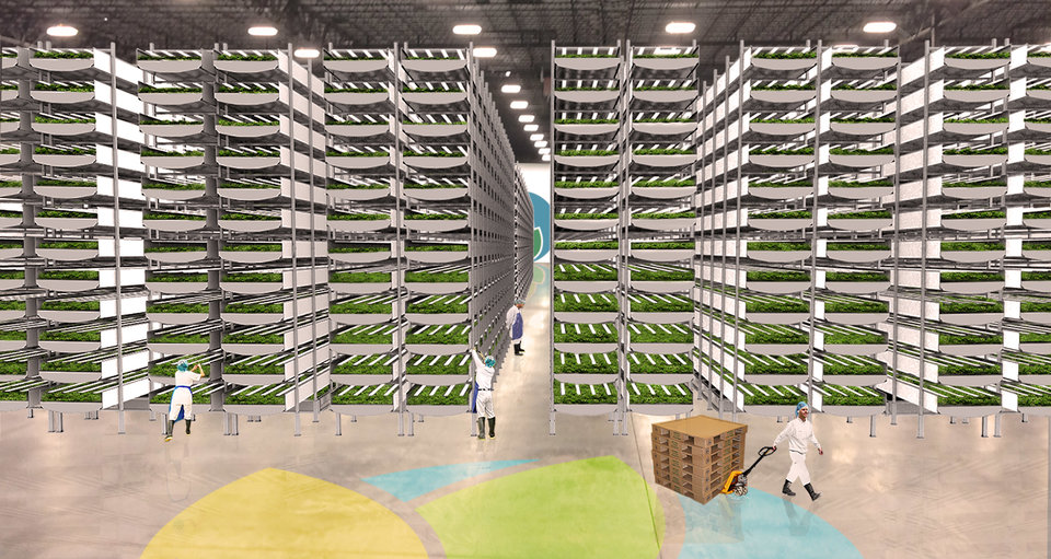 A rendering of Aerofarms' new facility, the world's largest vertical farm—built on an old manufacturing site.