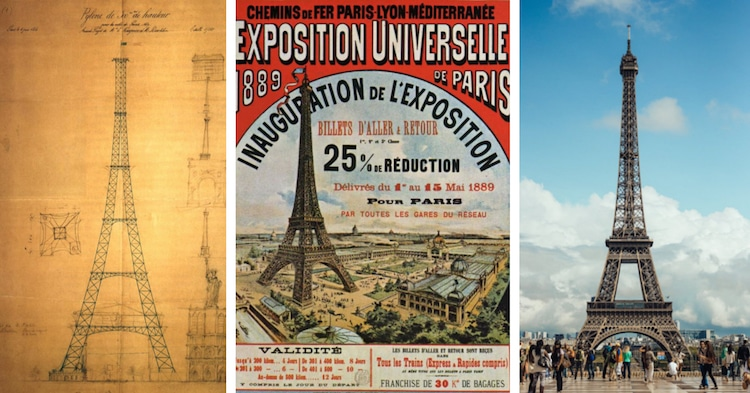 The Eiffel Tower-built in 1889-an original sketch, an advertisement for the exposition, and photo today.