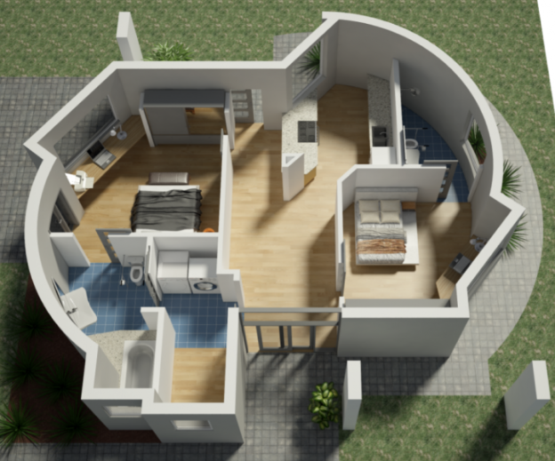 Floor plan for a 3D printed home – [Image source: https://3dprintingindustry.com/news/americas-first-3d-printed-houses-99189/]