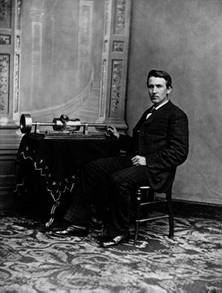 [A young Edison demonstrates his phonograph]