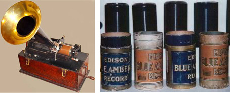 [An early Edison phonograph and typical recorded cylinders]