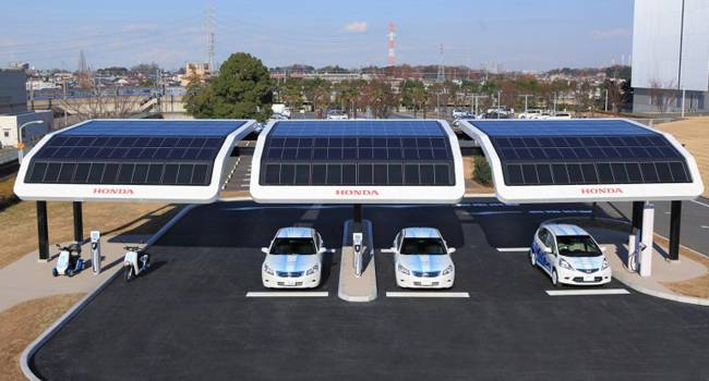 Honda Solar Charging Station in Japan