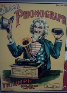 Thomas Edison's advertisement for his phonograph featuring American icon Uncle Sam