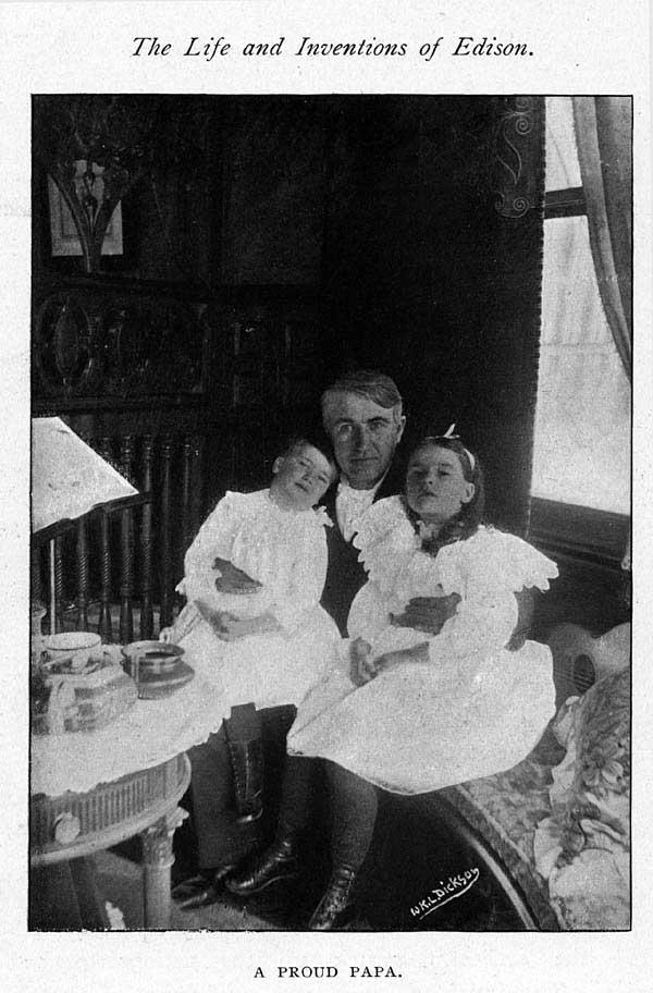 Tom Edison holding daughter Madelene and son Charles