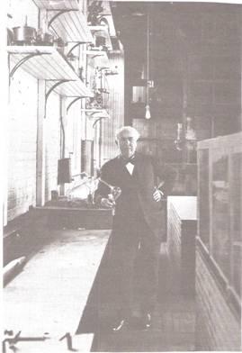 Edison Holding an Edison Effect Tube (West Orange)