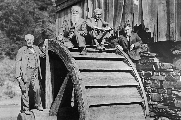 Thomas Edison, John Burroughs, Henry Ford and Harvey Firestone