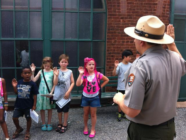 Young Students Visiting the Park and Taking their Junior Ranger Oath