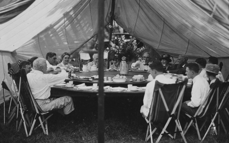 Fine dining under the balsam and fir tree canopy