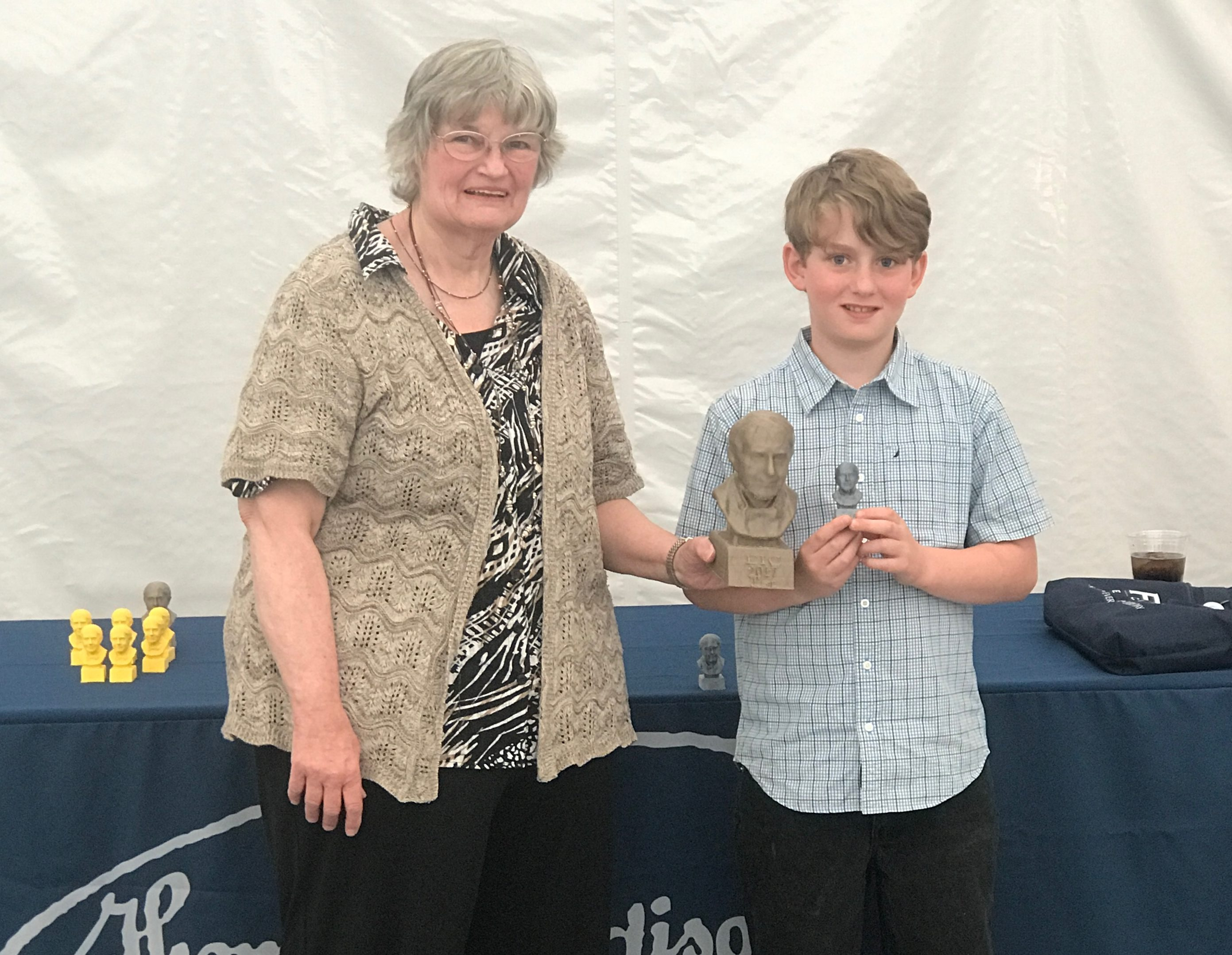 Middle School First Place: Nathan and Teacher Karen Goyette