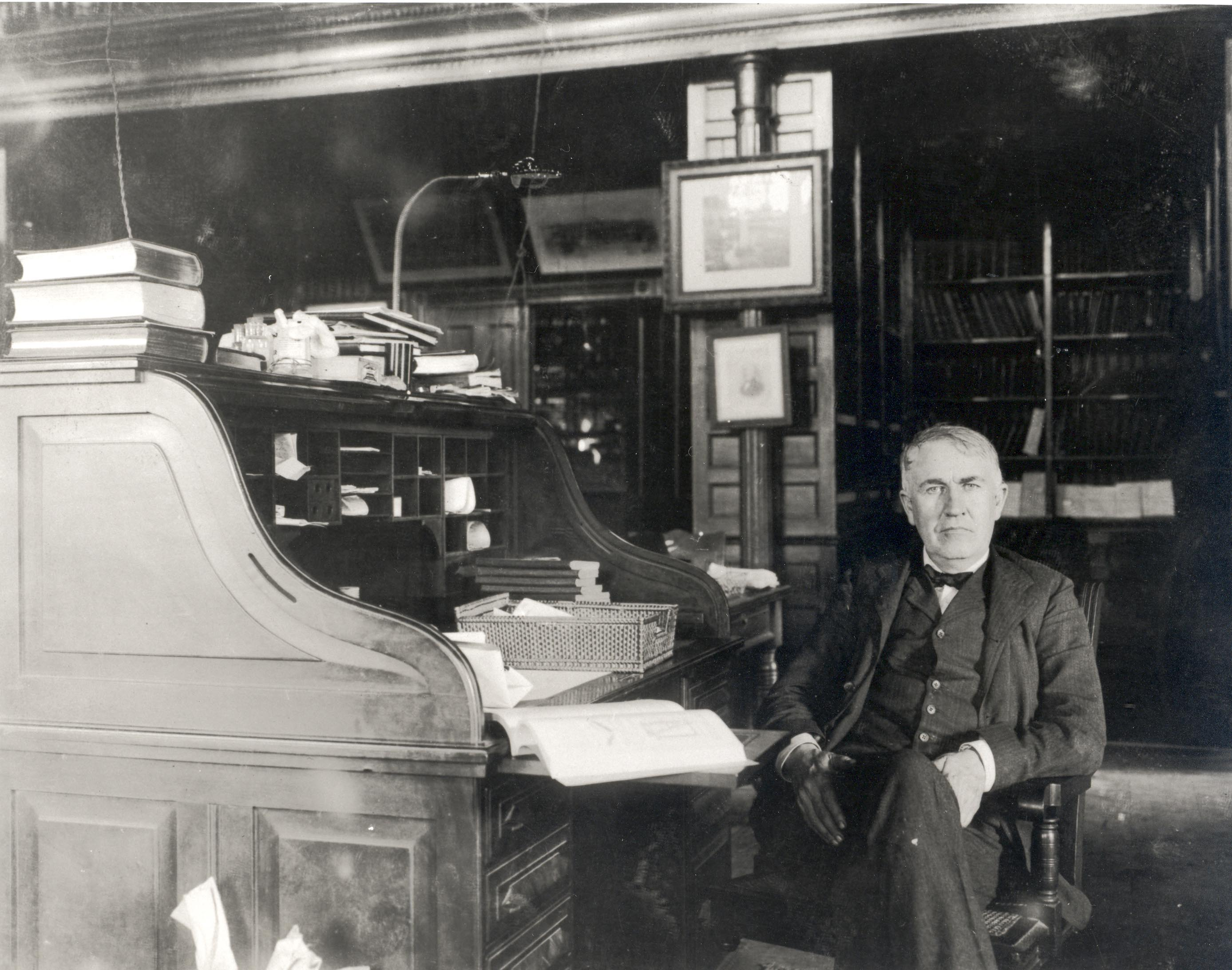 Edison at his office desk-always studying new things.