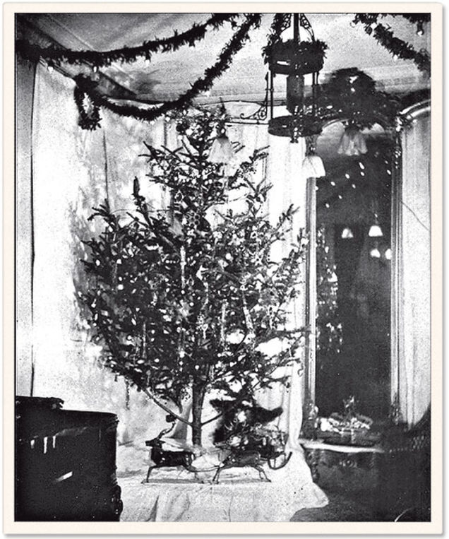 First electric tree lights decorate the 1882 Christmas tree at the home of Edward H. Johnson . The walnut-size red, white and blue bulbs were specially made by Edison's staff.