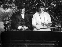 "Mina Edison driving her Tom [""dearie"" as she called him] around in her 1911 electric vehicle."