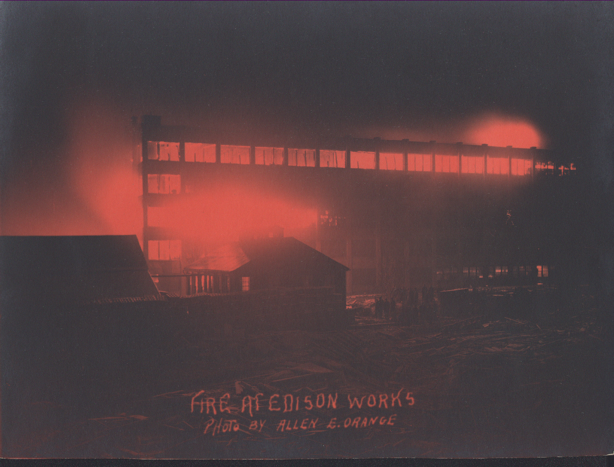 An eerie night glow as fire guts a large factory building