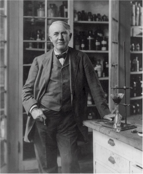 Edison in his chemistry lab at West Orange- a picture of confidence and command.