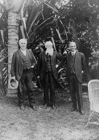 Friends and camping buddies-Edison, John Burroughs (famed environmentalist) and Henry Ford posing in Ft. Myers, Fl.
